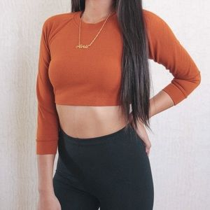 d6a37b56689ada American Apparel Tops - American Apparel Ponte Burnt Orange Raglan Top